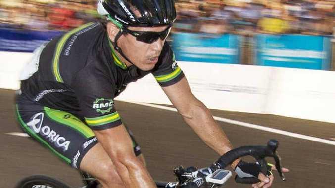STILL LOOKING GREAT: Robbie McEwen speeds around the Noosa circuit yesterday.
