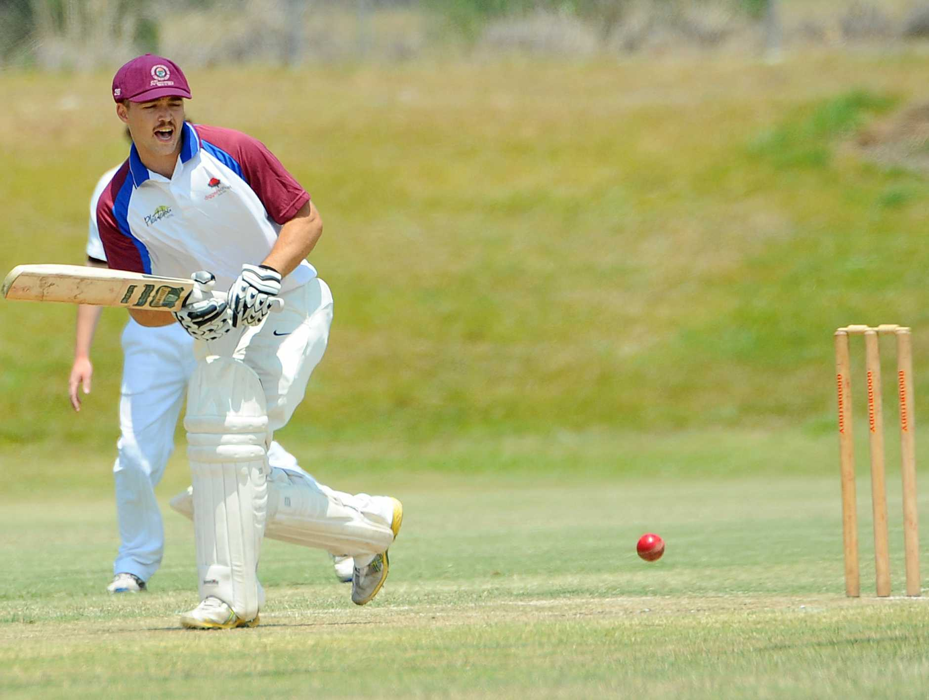 Diggers opener Alex Byrne looks happy with another delivery tucked safely away.