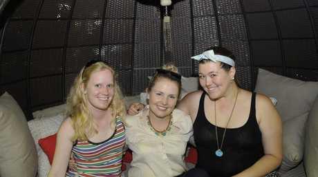 Enjoying the Spring Garden Party at Springs Garden World are Shannon Hudson, Michelle Mesner and Kaitlyn Thorne.