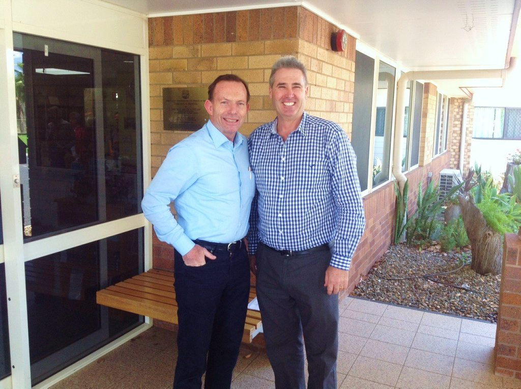 Prime Minister Tony Abbott and Western Downs Regional Council mayor Ray Brown discuss issues impacting the region, including aged care, at the Tarcoola Retirement Hostel in Tara on Saturday.