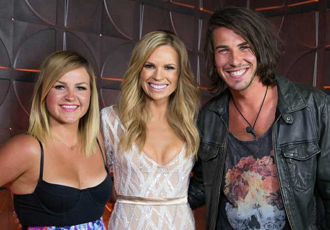 Host Sonia Kruger with evictees Boog and Drew.