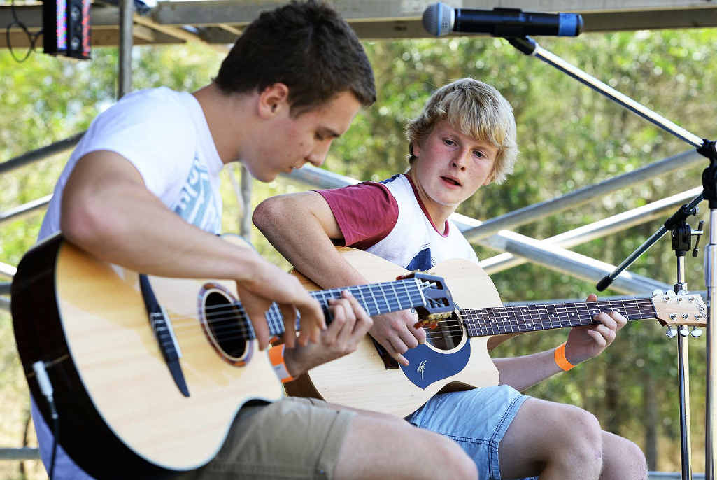 TOP DUO: Nick and Sam performing at the Grotto Fest music festival in Marburg on Saturday.