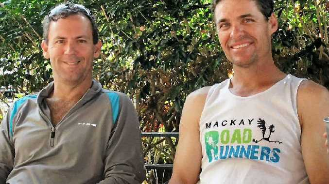 Dave Perkins and Mark McFadzen relax before the ultimate running challenge.