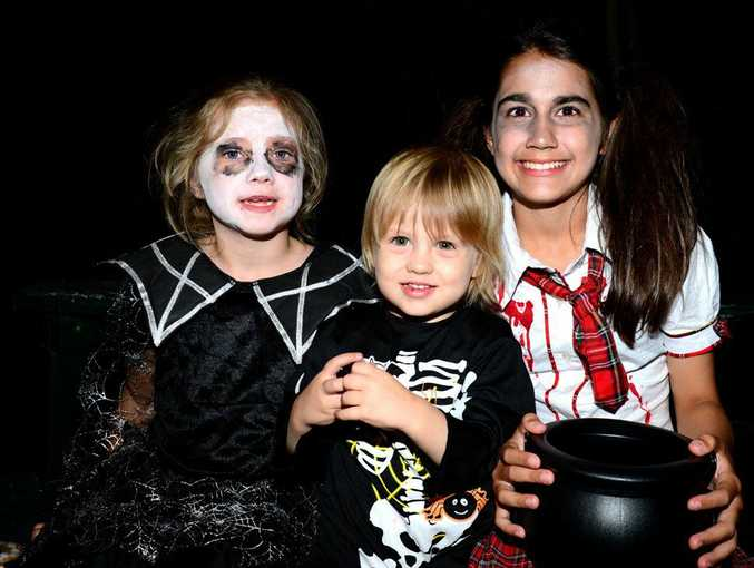 Taleah Thomson, Cormac Bryant and Tarnia Dale. Halloween at the Heritage Village. Photo Sharyn O'Neill / The Morning Bulletin