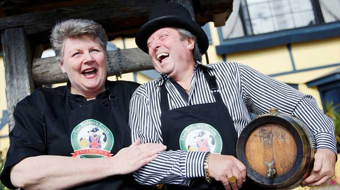 Chef Zana Trenerry and Riy Fathers have a laugh at the early success of their new venture, the Badger's Firkin in Flaxton.