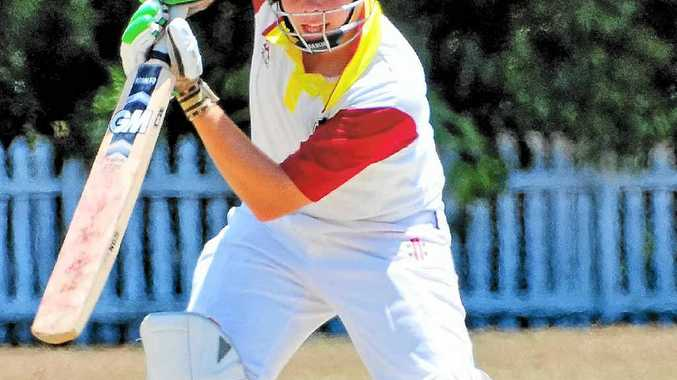 LONG ROAD AHEAD: Young Tewantin-Noosa opener Josh Tyson looks comfortable on Saturday afternoon chasing Gympie's mammoth first innings tally.