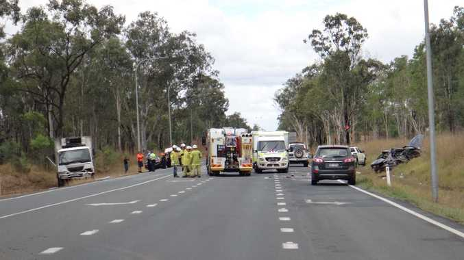 The scene of the accident on the Peak Downs Hwy.