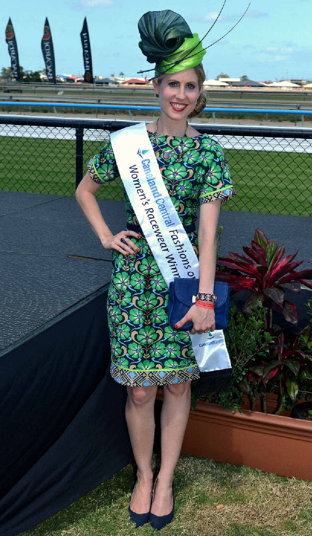 Teagen Vella won Fashions on the Field at Mackay's Melbourne Cup celebrations.