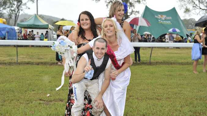 From left at back, Abbi Dalton, Lucy Dalton, Matthew Paget and Sophie Dalton (bride to be) at the Tabulam race day 2012 Photo Mireille Merlet-Shaw / The Northern Star