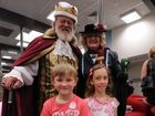 King Stephen Buttye and Mary Poppins Carmel Murdoch with award winners Archer Thomas Yates and Erin King at the Maryborough Library.