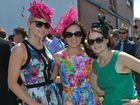 Bright Colours, florals and fascinators were a fashion statement for Kimberley Hunter, Kelsey Price and Lyneale Thrupp at Ooralea Race Track for Melbourne Cup. Photo Lee Constable / Daily Mercury