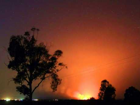 The blaze at the Warwick dump lit up the town on Tuesday night.