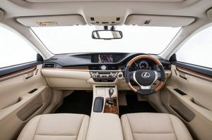 Inside the Lexus ES 300h Sports Luxury with bamboo trim.