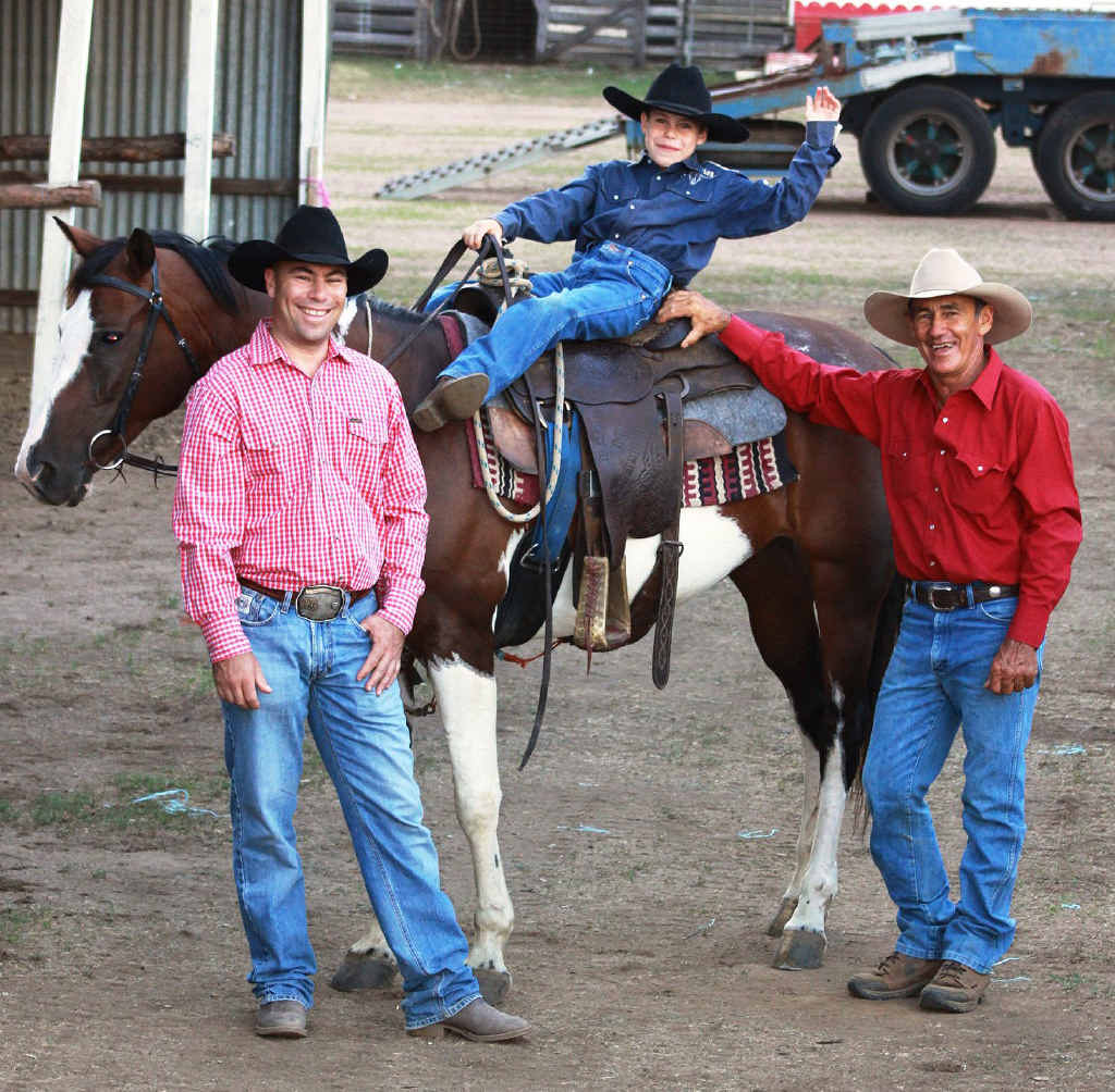 THREE GENERATIONS: Clay Hall (on horse) seen here with father Jason Hall (left) and grandfather Kerry Hall are taking part in the Boonah Rodeo.