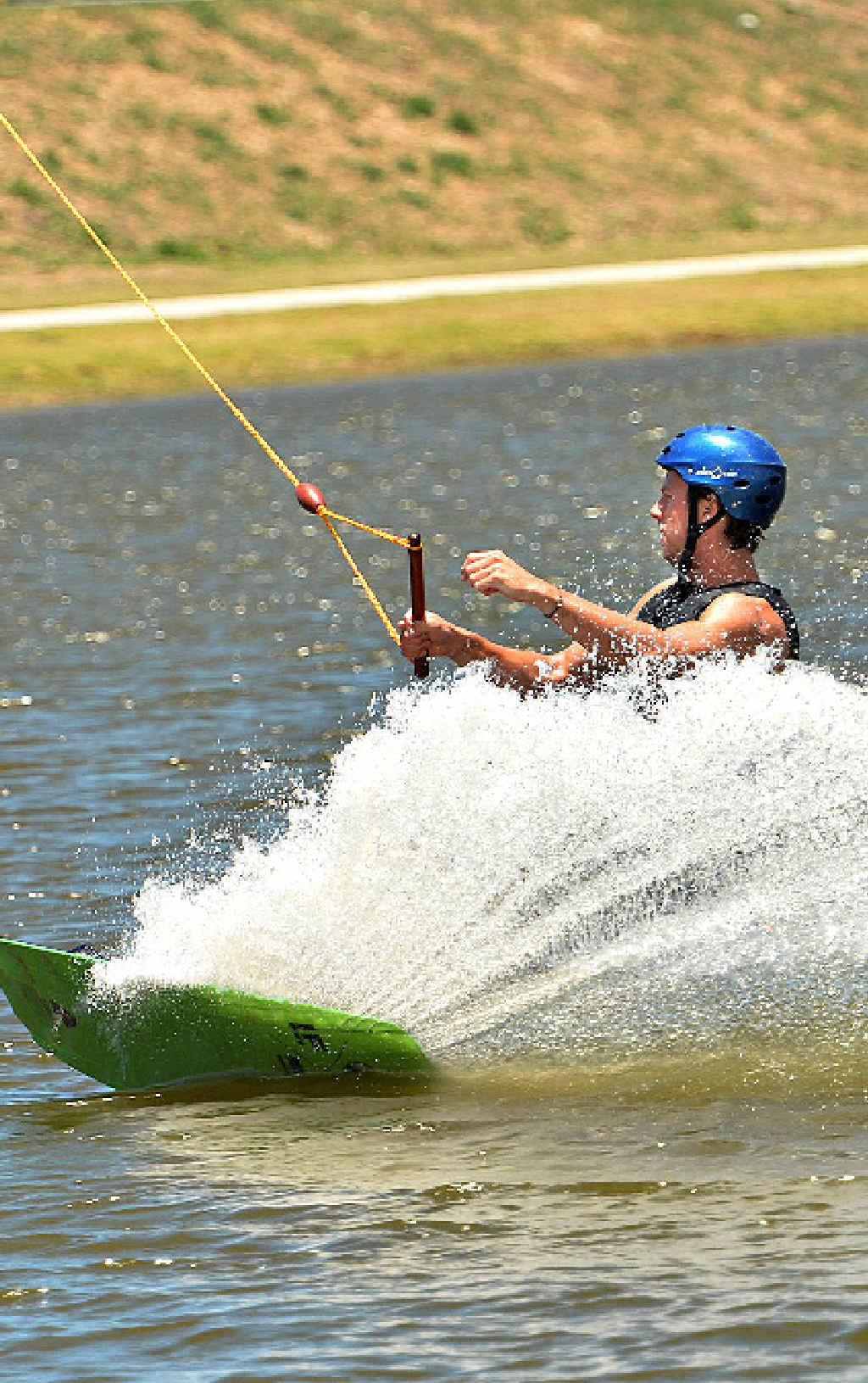 Kai Kissmann on the wakeboard at Mackay.