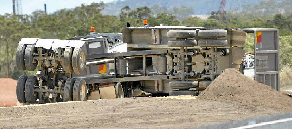 A B-double truck lost its rear load on the old Gladstone-Mt Larcom Rd on Wednesday.