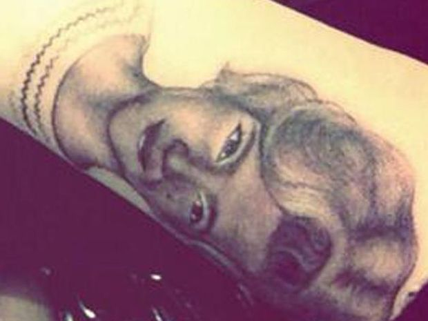 Miley Cyrus's tattoo of her grandmother.
