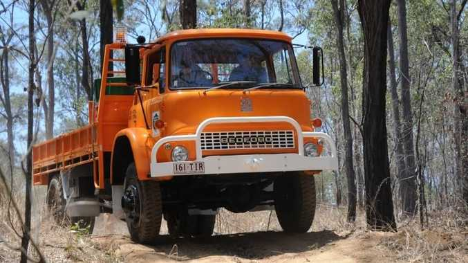 Lockyer Valley Mayor Steve Jones at the wheel puts the council's new rescue and re-supply truck through its paces.