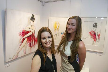 Artist Starr (left) is with one of her models Casey Van Zelst of Toowoomba at the opening of her exhibition Kaleidoscope.