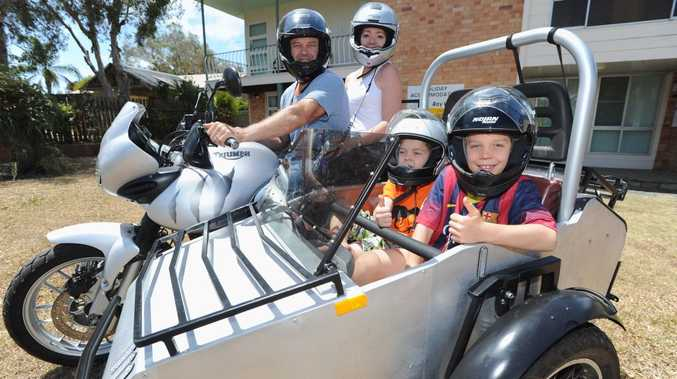 Mal Topfer, wife Anya and children Kian,7, and Jai,9, from Tannum Sands. Travelling around in the sidecar he built to go with his Triumph 955 Tiger. It took Mal a year to build and they took it on its maiden voyage some 2,000km around outback Queensland. This time it was just a quick trip to Hervey Bay but they'd love to go out to Uluru.