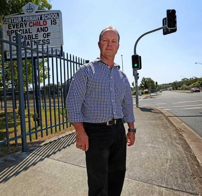 Centaur Primary School principal Darren Scott is not happy with cars speeding through the school zone.