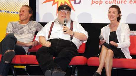 Game of Thrones stars and creator at Supanova Pop Culture Expo in Brisbane. From left, Jerome Flynn, creator and author George RR Martin and Michelle Fairley.