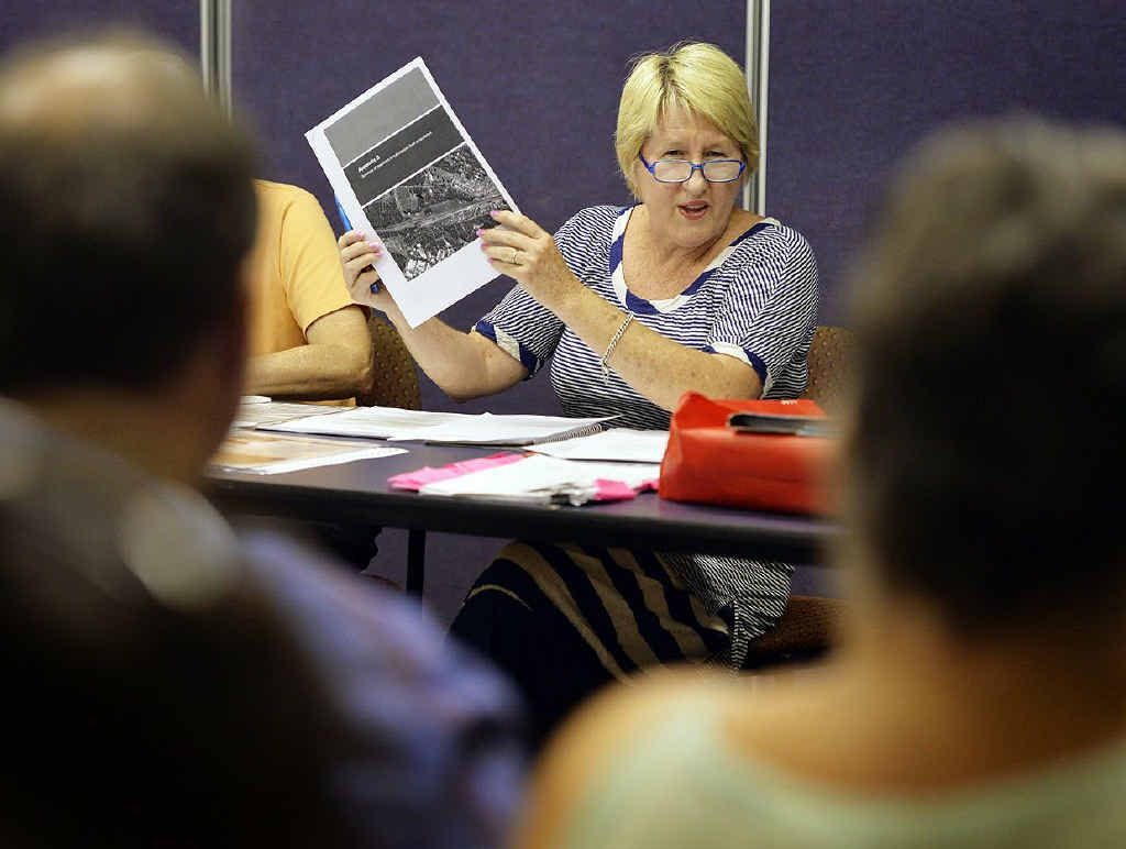 SITE SPECIFIC: Wulkuraka residents' meeting chair Shirley Stevenson holds up a map relating to the maintenance centre.