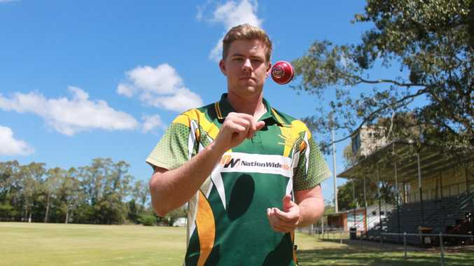Rockhampton cricketeer Dan Milne leans on a bar. Photo: Guy Williams / The Morning Bulletin