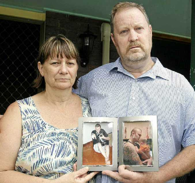 GRIEVING AND ANGRY: Chris and Gary Parsons with a photo of their son Keiran.