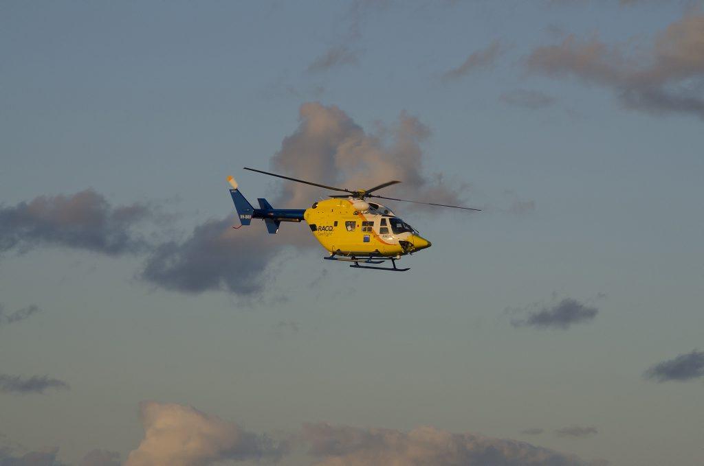 BIKE CRASH: An RACQ CareFlight helicopter took a motocross rider from Manar Park to Nambour Hospital.