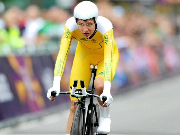 LEARNING CURVE: Australia's Shara Gillow crosses the finish line in the time trial at last year's London Olympics.