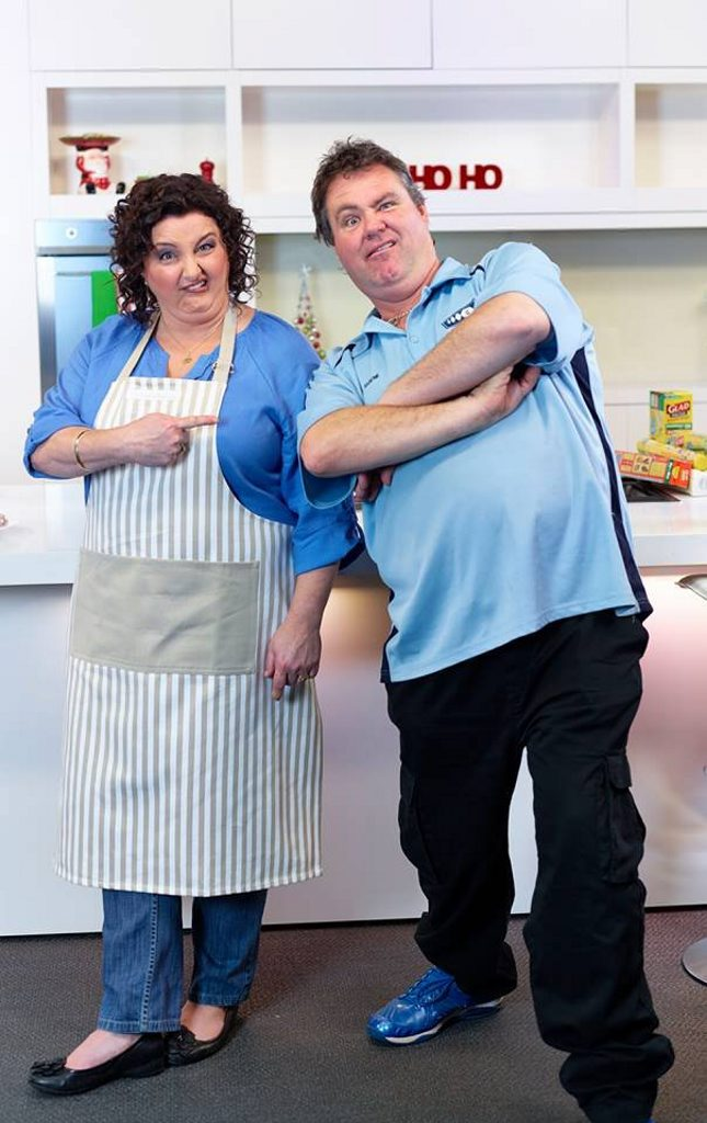Masterchef winner Julie Goodwin strikes a pose with Evolution Studios head honcho Shayne Cantly on-set for the shooting of a new Glad TV advertisement.