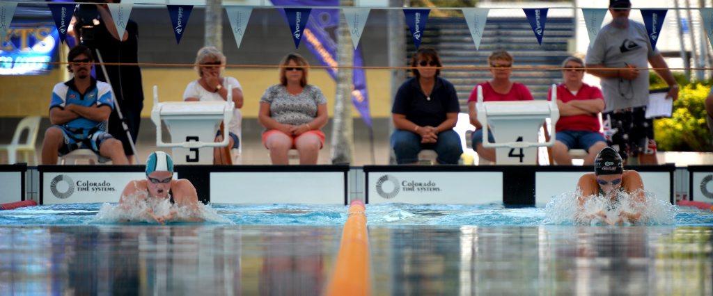 Alanna Bowles and Lieston Pickett at Rockhampton Aquatic Centre Pool. Photo Allan Reinikka / The Morning Bulletin