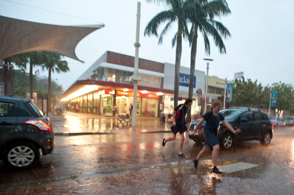 DUCKING FOR COVER: The BOM recorded 50mm of rain in Coffs Harbour between 3.30pm and 5pm.