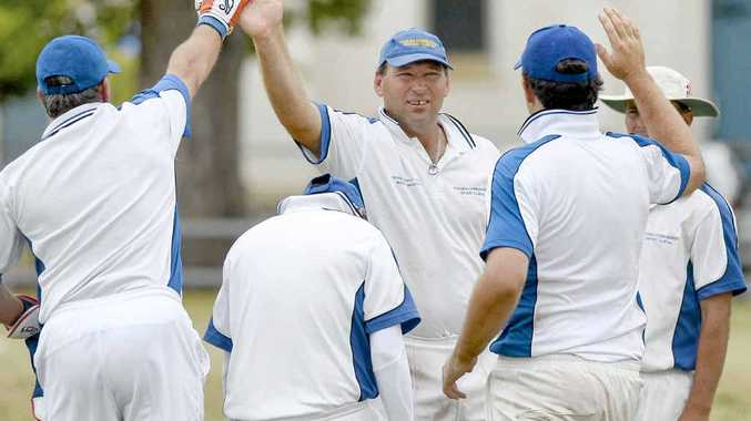 Tucabia-Copmanhurst's Matt Pigg is congratulated after taking a wicket against Easts at Ellem Oval on Saturday. PHOTO: DEBRA NOVAK