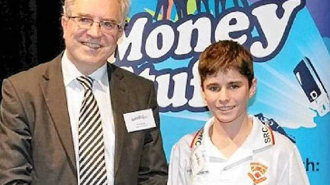 MONEY STUFF: Fair Trading Commissioner Rod Stowe and Commissioner's Prize winner Max Rose. PHOTO: CONTRIBUTED