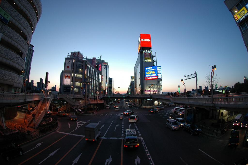 Southern Osaka at dusk.