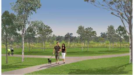 An artist's impression of detention basin planned for Garnett Lehmann Park.