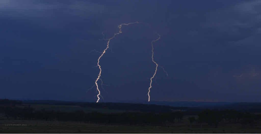 Twin lightning over Warwick.