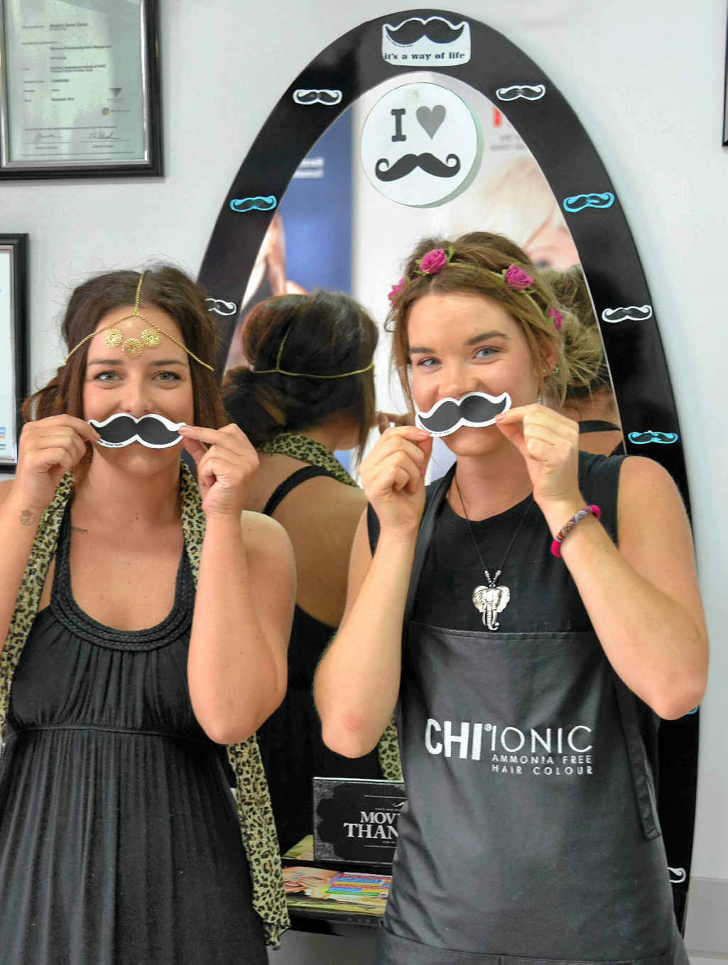 Madison Cockram and Jessica Carey from JC's Inspirational Hair are raising money for Movember this month.