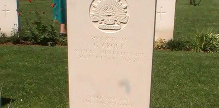 A tombstone at Fromelles