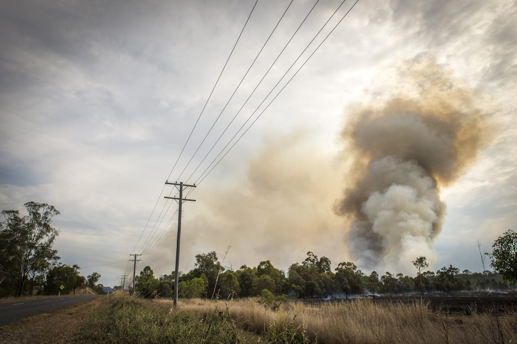Awoonga Dam Road fire, pictured from Awoonga Dam Road.