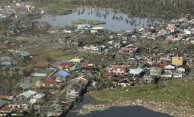 SHEER DEVASTATION: Aerial view of Tacloban city, Leyte Province, in the central Philippines.