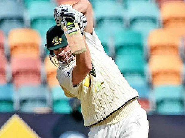 ASHES HOPEFUL: Alex Doolan drives a ball to the boundary against England while playing for Australia A in Hobart last week.