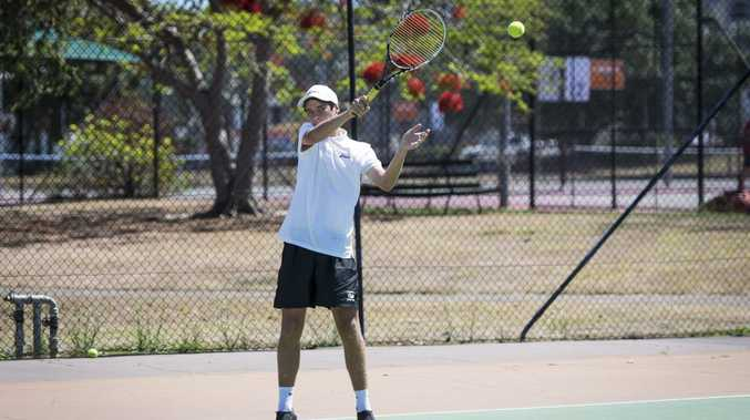 Under 14's competitor Corey Carsten at the Gladstone Tennis Closed Championships.