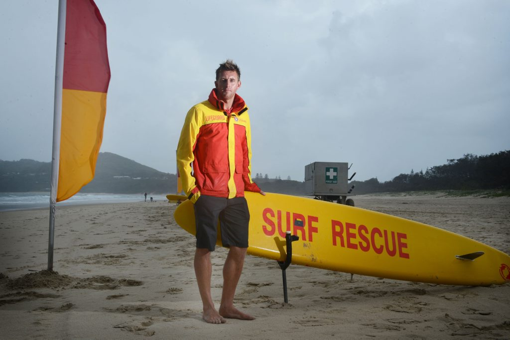 Dont drink and drown. Scott McCartney, Northern NSW Life Guard Co-ordinator, pictured at Main Beach, Byron Bay in the lead-up to schoolies week. Photo Patrick Gorbunovs/ The Northern Star