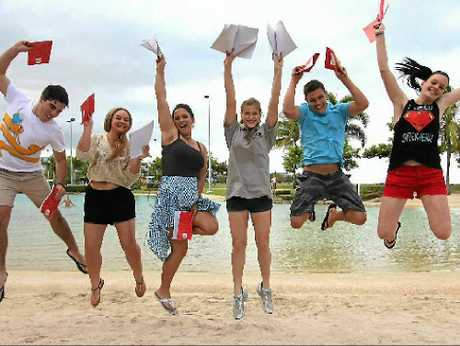 Proserpine State High School students Jack Spencer, Casey Soutar, Claudia Neil, Marie Philp, Matthew Warren and Ayla Hadley are looking forward to celebrating Schoolies in Airlie Beach.