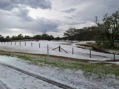 The aftermath of this afternoon hail storm at Ramsay, south of Toowoomba.