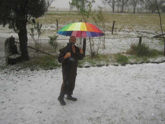 Darryl Hetherington in Ramsay which has just been hit by a severe hail storm.