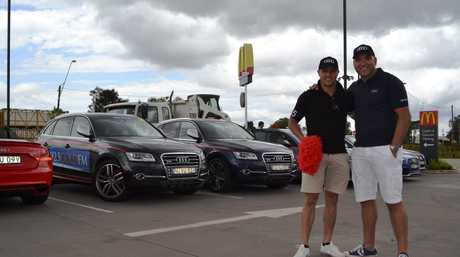 Rugby league stars Scott Prince and Gorden Tallis at McDonalds Harristown as part of the inaugural Audi Red Boot Rally.